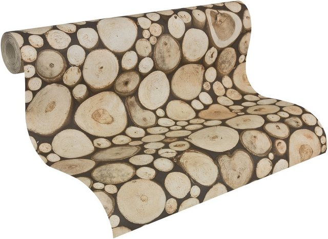 Livingwalls Papiertapete, Dekora Natur, in natürlicher Holzoptik, braun