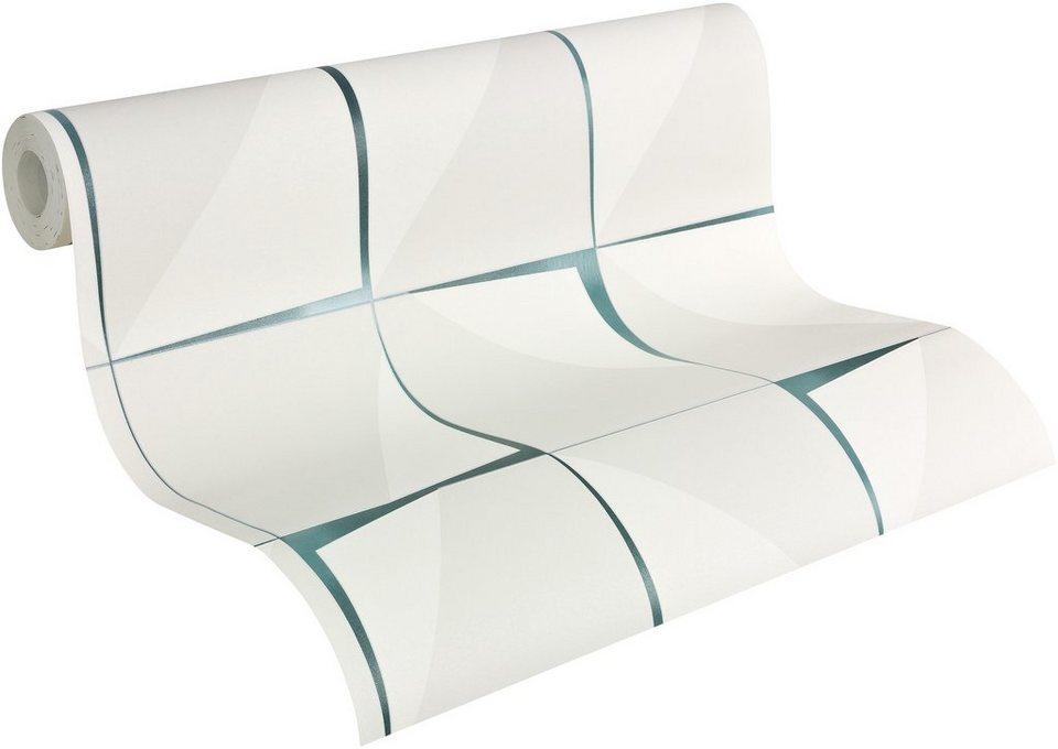 Vliestapete, Livingwalls, »Mustertapete Aisslinger, Retrodesign« in grau, grün, weiß