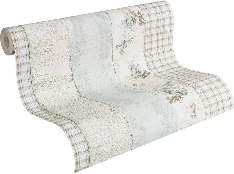 Papiertapete, Livingwalls, »romantische Mustertapete Djooz im Landhausstil« in weiß, creme, braun, blau