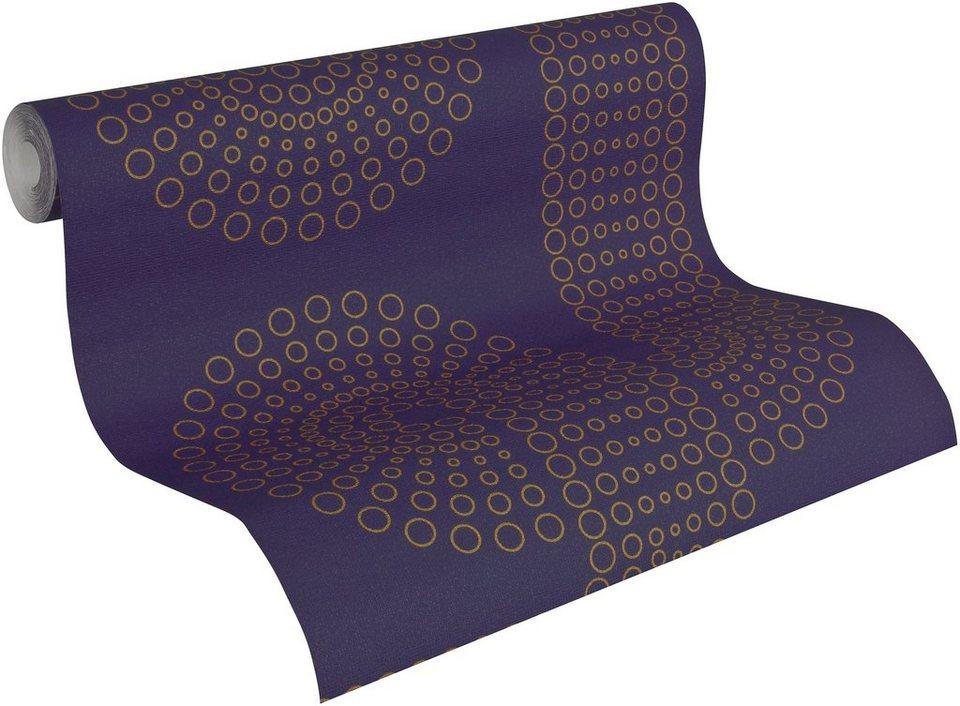 Vliestapete, Lars contzen, »Mustertapete Dotspath« in violett, goldfarben