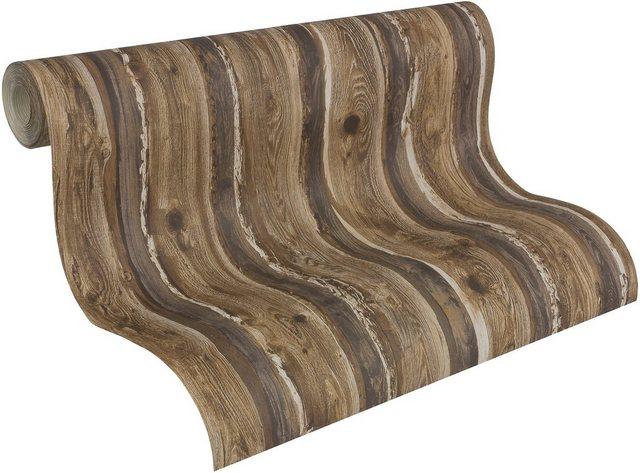 Livingwalls Papiertapete, Dekora Natur, in moderner Holzoptik, braun