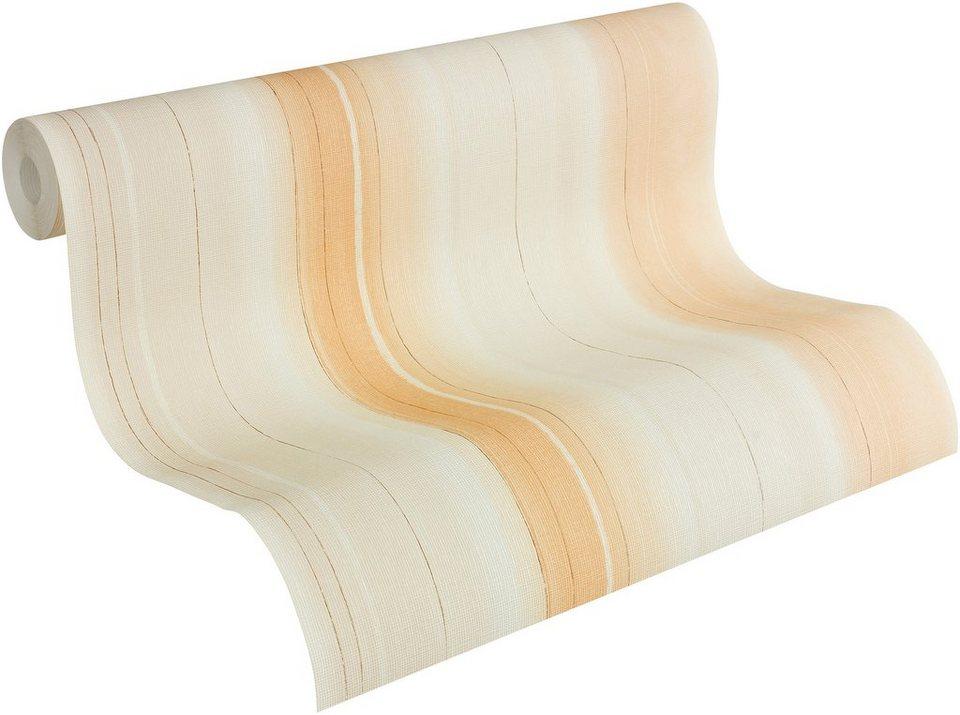 Vliestapete, Livingwalls, »Streifentapete Fioretto« in beige, braun, orange
