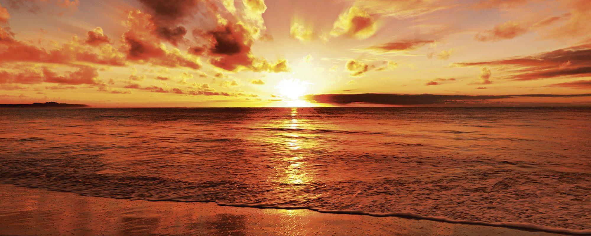 Home affaire, Glasbild, »idizimage: Schöner tropischer Sonnenuntergang am Strand«, 125/50 cm