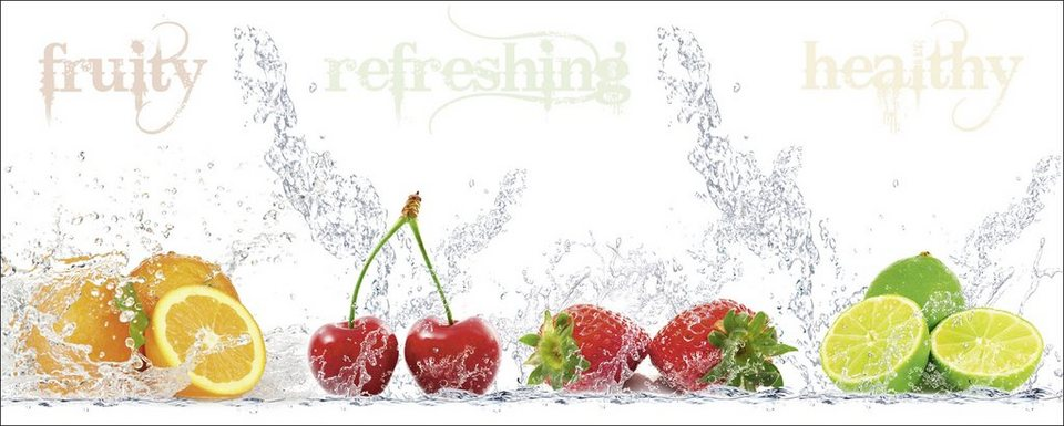 Glasbild, Home affaire, »Porzani & Kesu: Fruchtig - erfrischend - gesund«, 125/50 cm in Weiß