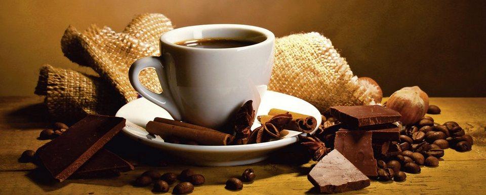 Glasbild, Home affaire, »Yastremska: Kaffeetasse, -bohnen«, 125/50 cm in Braun