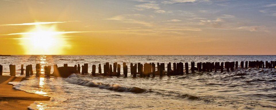 Glasbild, Home affaire, »S. Decoret: Schöner Sonnenuntergang am Strand«, 125/50 cm in Orange