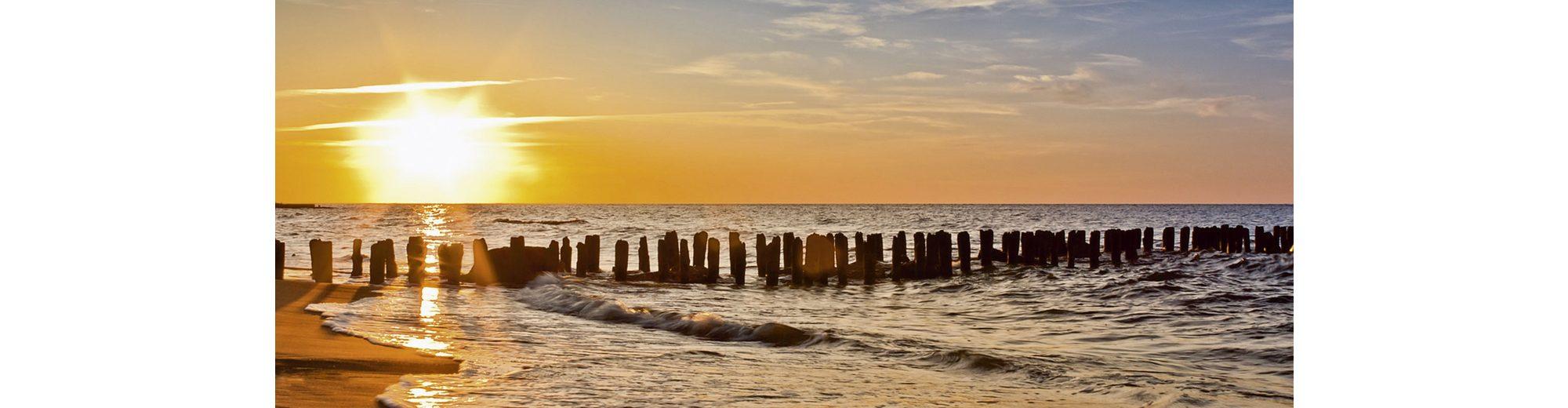 Glasbild, Home affaire, »S. Decoret: Schöner Sonnenuntergang am Strand«, 125/50 cm