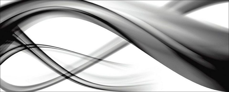 Glasbild, Home affaire, »B. Bocos: Abstrakte Komposition (s/w)«, 125/50 cm in Schwarz/Weiß