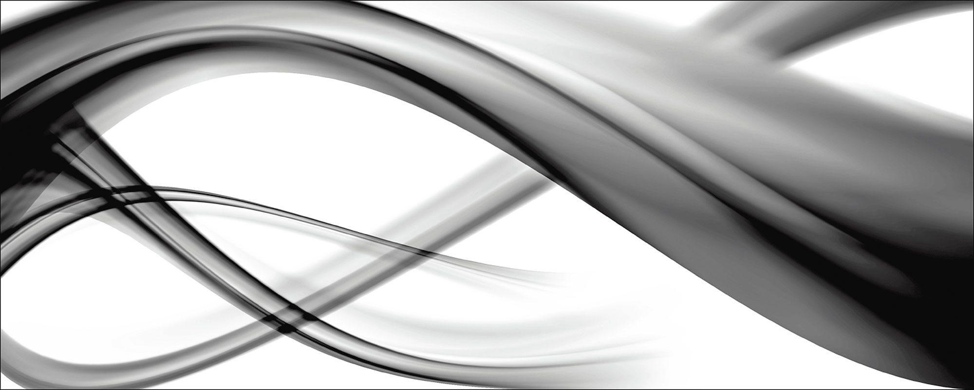 Glasbild, Home affaire, »B. Bocos: Abstrakte Komposition (s/w)«, 125/50 cm