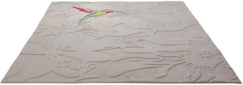 Teppich, Esprit, »Colibri«, handgearbeiteter Konturenschnitt, Hoch-Tief-Struktur in sand
