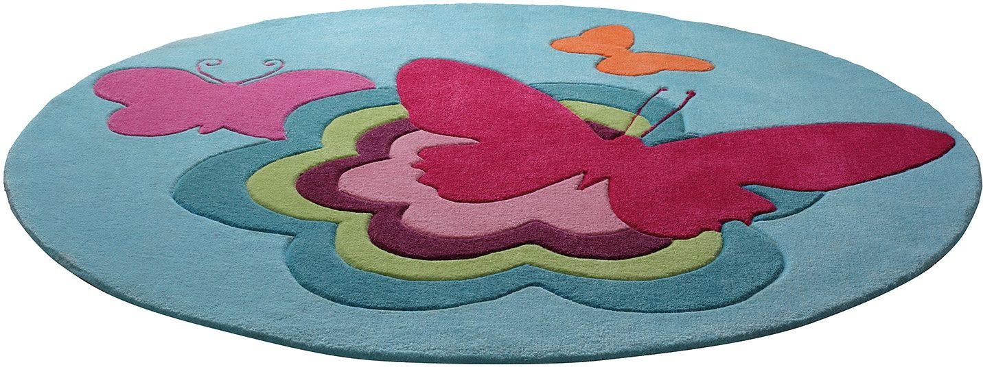 Kinderteppich »Butterflies«, Esprit, rund, Höhe 10 mm