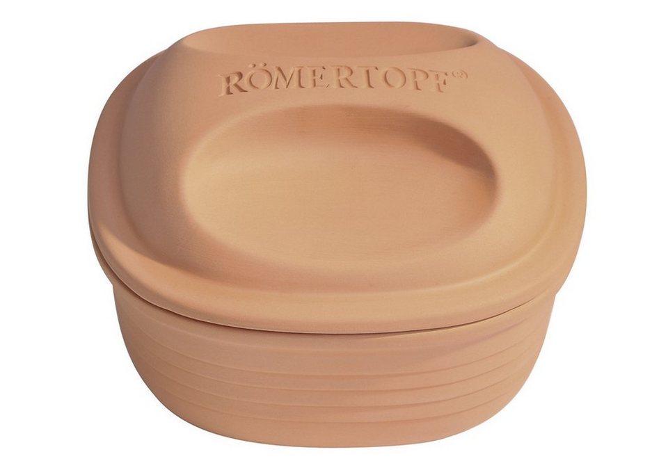 Bräter, quadratisch, Inhalt 2 kg, für 4 Personen, »Römertopf®« in braun