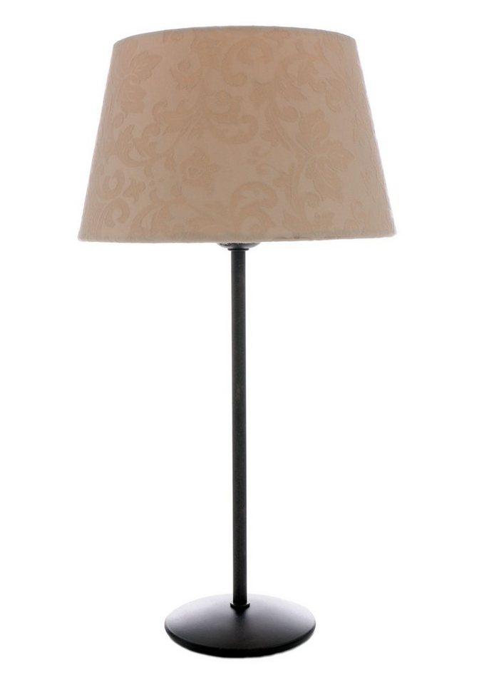 Tischleuchte (1flg.) in Lampenfuß rostbraun, Schirm creme