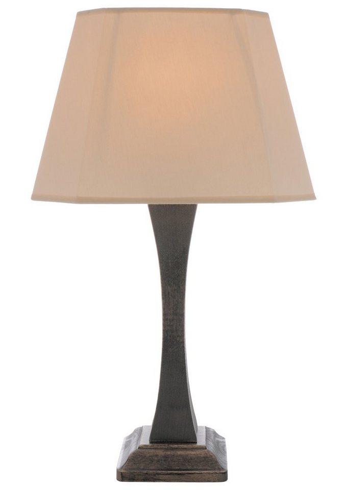 Tischleuchte (1flg.) in Lampenfuß antik goldfarben, Schirm beige