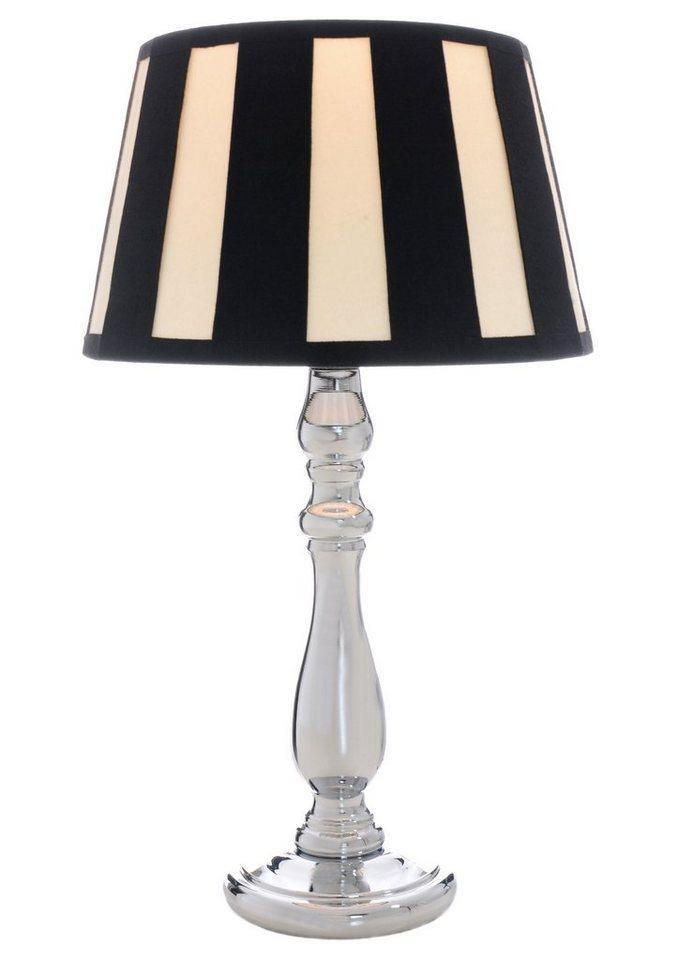 Tischleuchte (1flg.) in Lampenfuß chromfarben, Schirm schwarz-creme gestreift