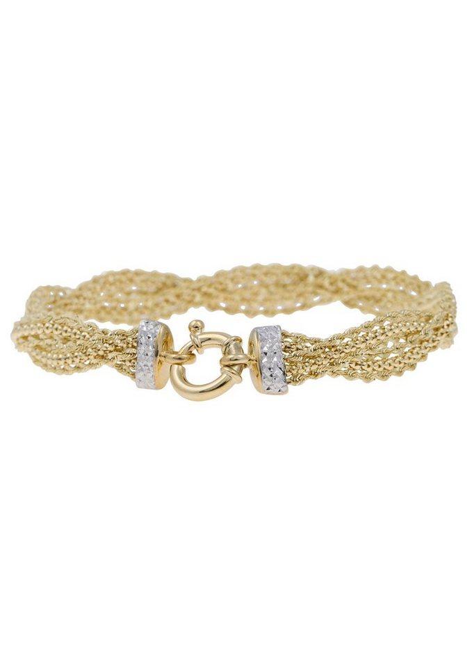 firetti Armschmuck: Armband mit diamantiertem Federring in Gelbgold 375/teilweise rhodiniert