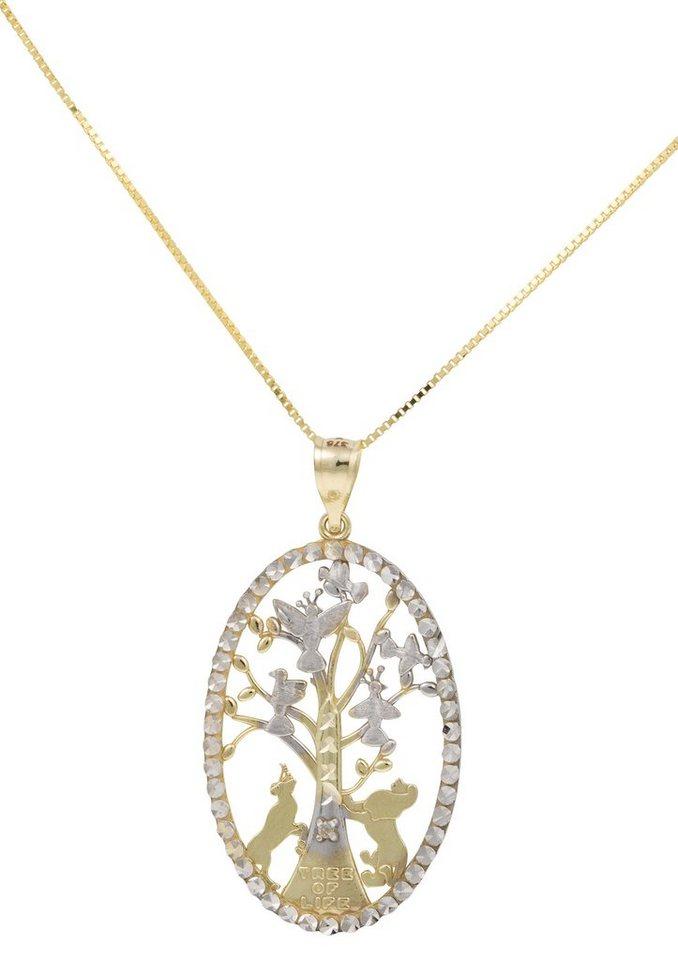 firetti Halsschmuck: Halskette »Lebensbaum« in Venezianerkettengliederung in Gelbgold 375/teilweise rhodiniert