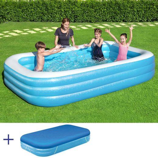 BESTWAY Pool »BESTWAY Family Pool Swimmingpool Rechteckig 305x183x46cm + Abdeckung«, 305x183x46cm