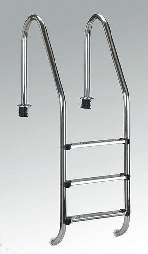 CLEAR POOL Pool-Einhängeleiter »Tiefbeckenleiter Edelstahl«, 3 Stufen