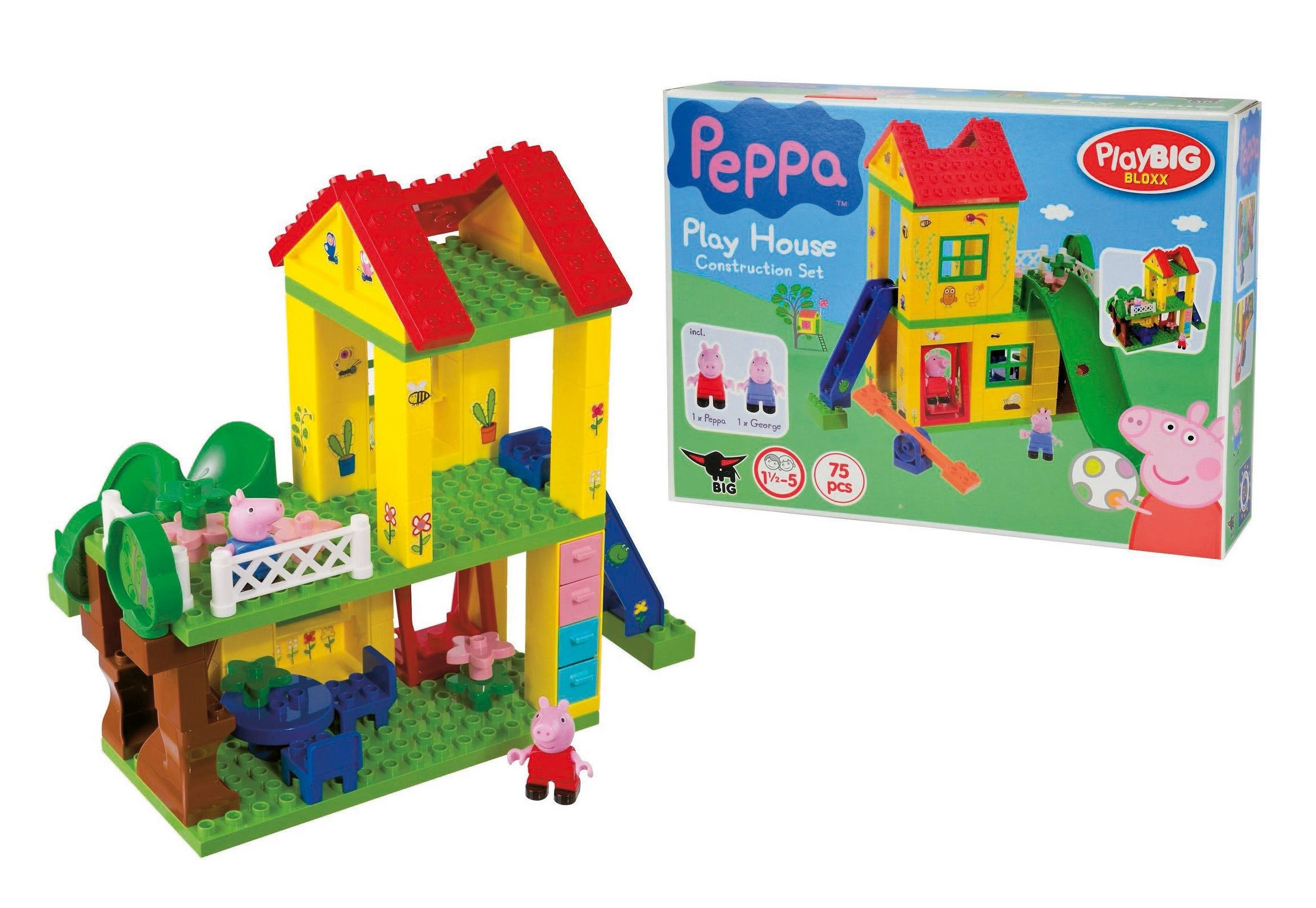BIG Spielset Haus mit 3 Etagen und viel Zubehör, »PlayBIG Bloxx Peppa Pig Playhouse« (75tlg.)