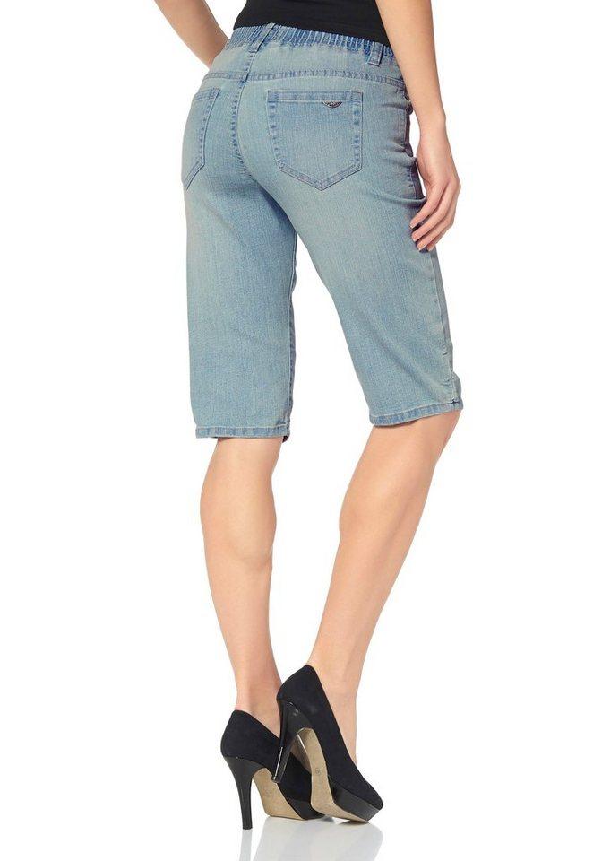 Arizona Jeansbermudas mit Schlupfbündchen in blau