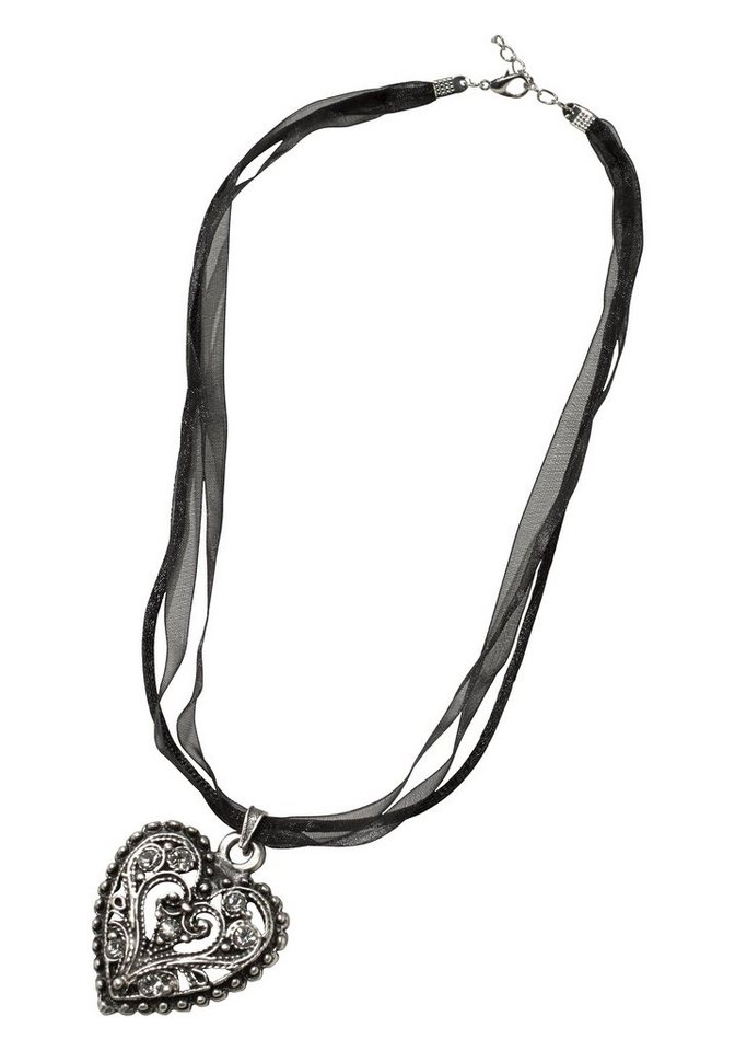 J. Jayz Kette »mit Herzanhänger« in silberfarben-schwarz