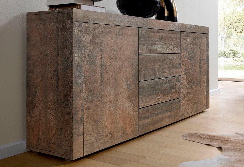 Sideboard, Breite 139 cm in Stahlfarben antik