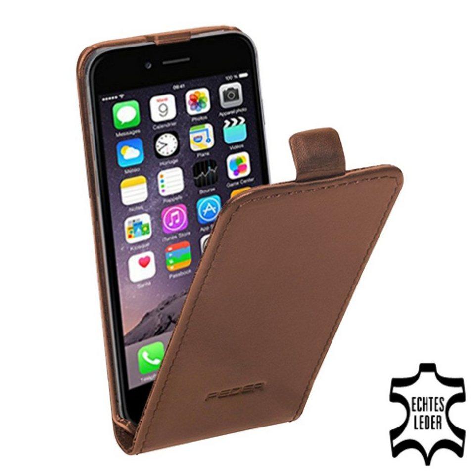 PEDEA Handytasche »Echtleder Flip Cover für iPhone 6, Tobacco Braun« in Braun