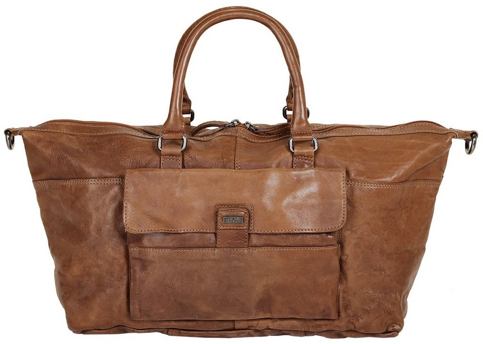 Spikes & Sparrow Leder Weekender »Dakota« in cognac