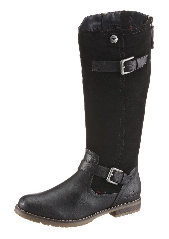 Tom Tailor Stiefel im trendigen Materialmix in schwarz