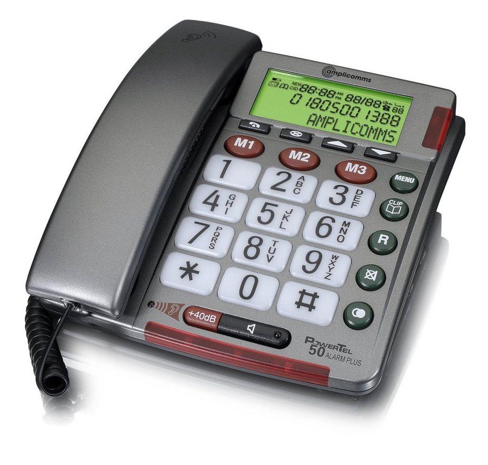 amplicomms Großtastentelefon »PowerTel 50 Alarm Plus + Alarmgeber« in Grau