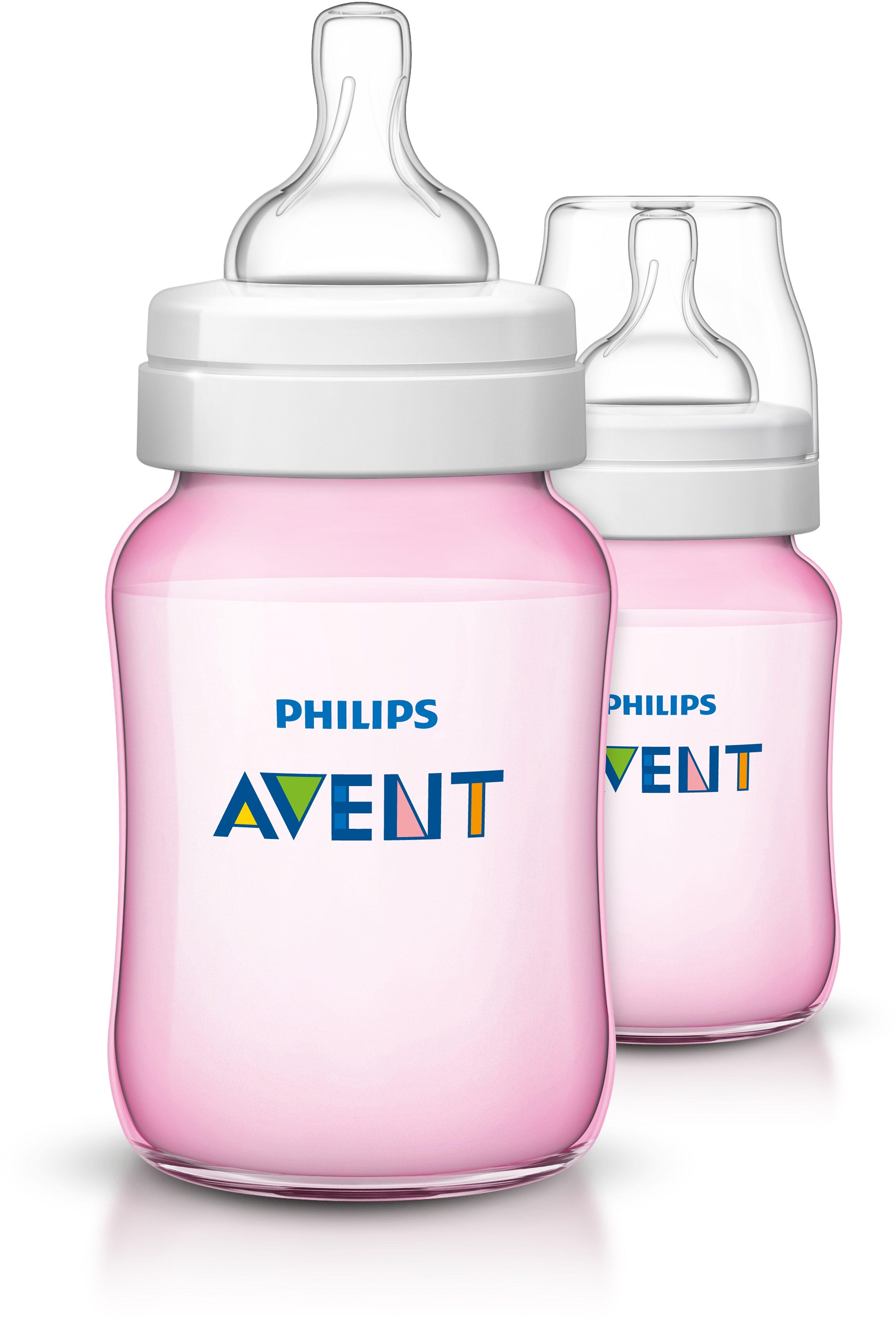 Philips Avent Babyfläschchen SCF564/27 KlassikPlus Flasche 260 ml, 2er Pack, pink