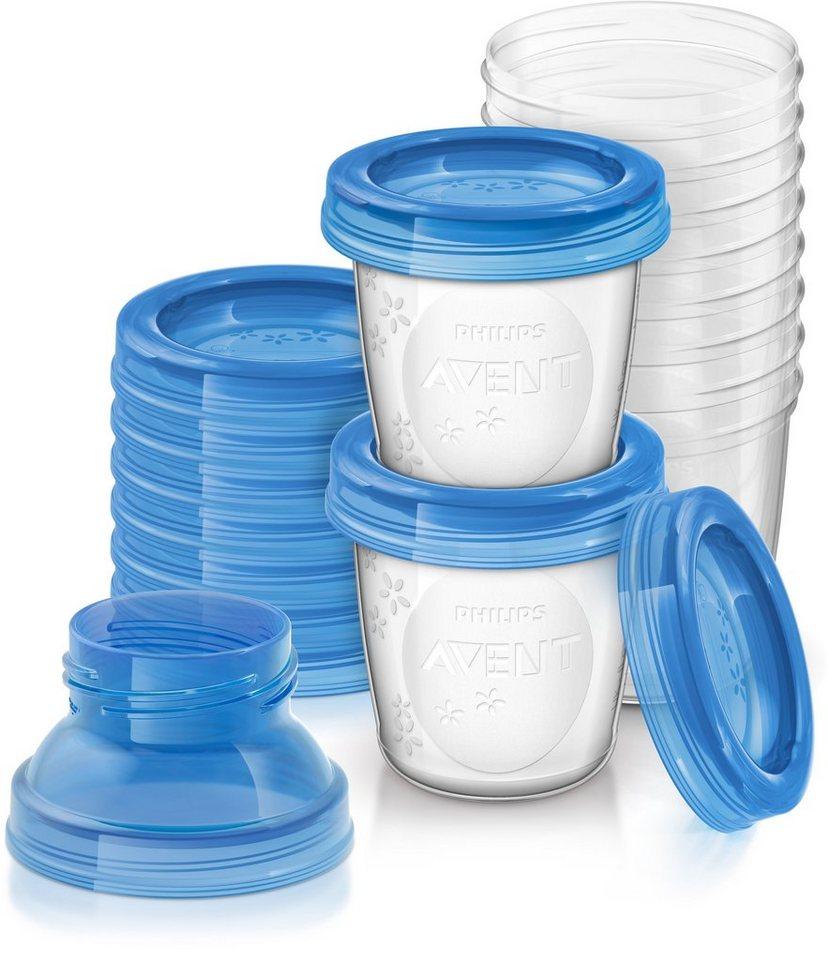 Philips Avent Aufbewahrungssystem SCF618/10 Mehrwegbecher für Muttermilch inkl. Deckel und Adapter in weiß/blau