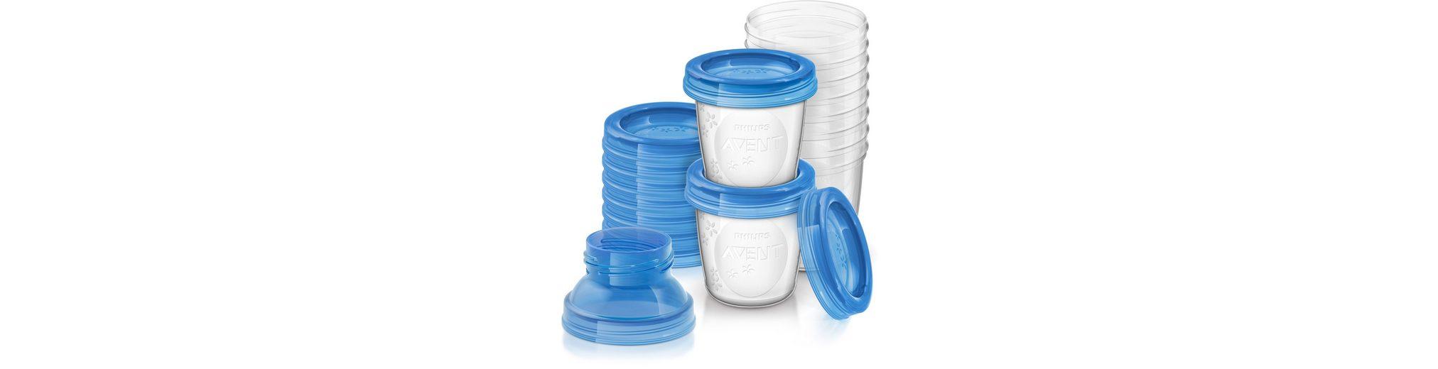 Philips Avent Aufbewahrungssystem SCF618/10 Mehrwegbecher für Muttermilch inkl. Deckel und Adapter