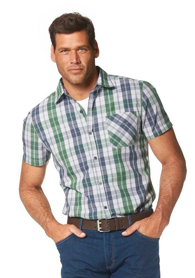 Man's World Kurzarmhemd in grün-blau-weiß