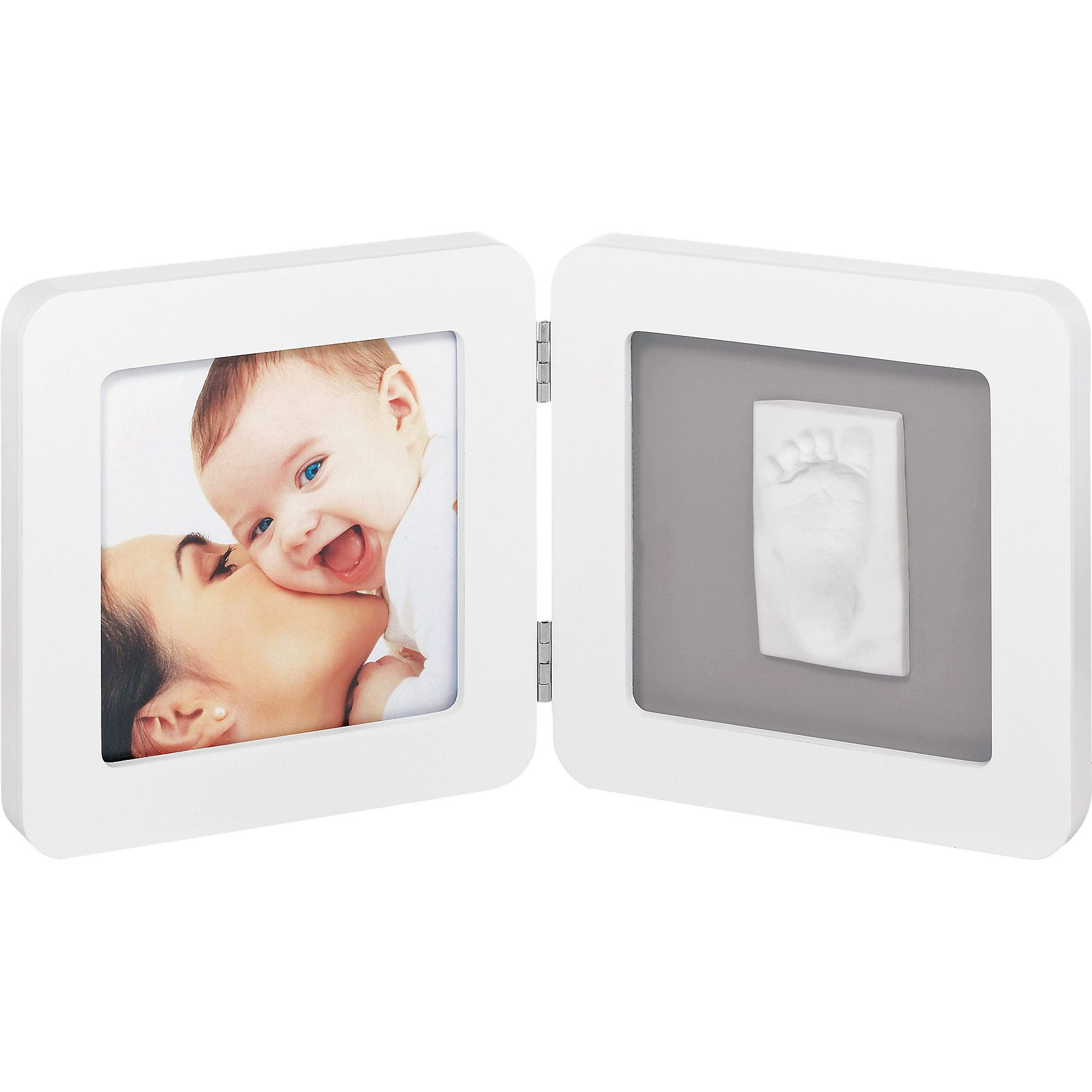 Baby Art Gipsabdruck Set mit 2-tlg. Bilderrahmen, white/grey