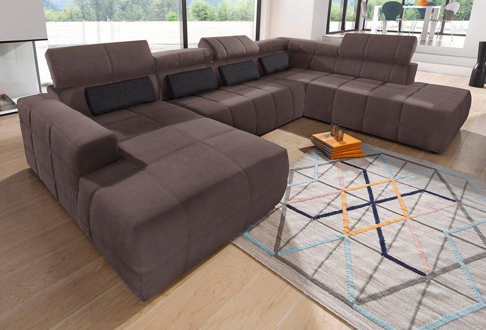 wohnlandschaft wahlweise mit sitztiefenverstellung online kaufen otto. Black Bedroom Furniture Sets. Home Design Ideas