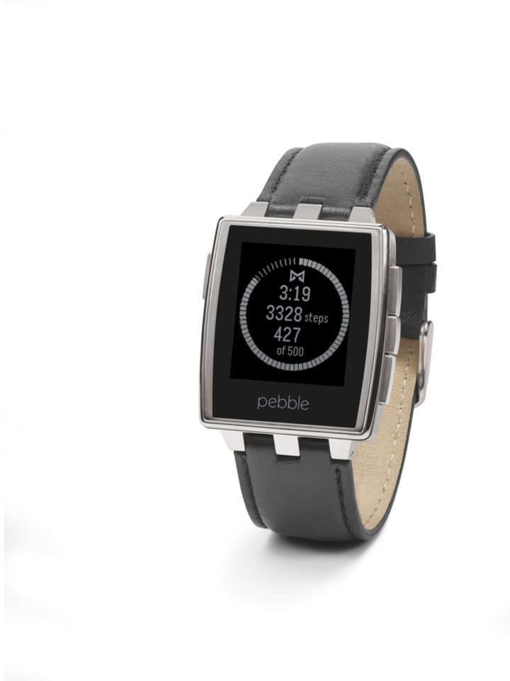 Pebble Smartwatch »Armbanduhr, Brushed Stainless Steel« in Grau
