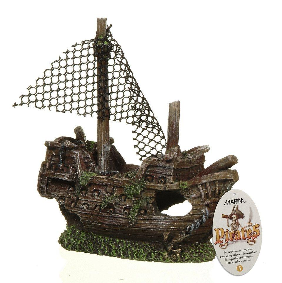 Set: Aquariendeko »Piraten-Ornament & Treibholz« in braun