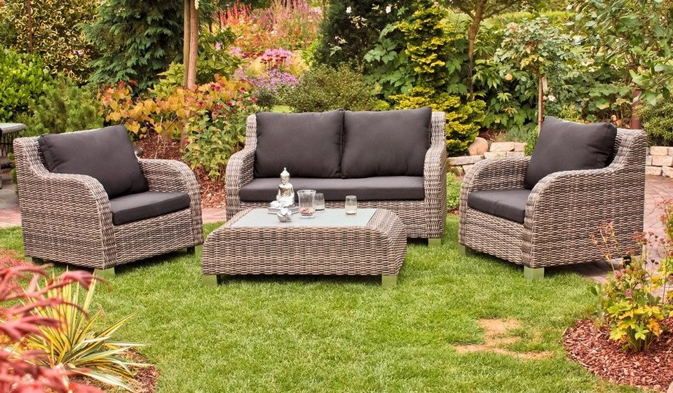 11 tlg loungeset brighton 2er sofa 2 sesseln 1 tisch polyrattan sand inkl dicke auflagen. Black Bedroom Furniture Sets. Home Design Ideas