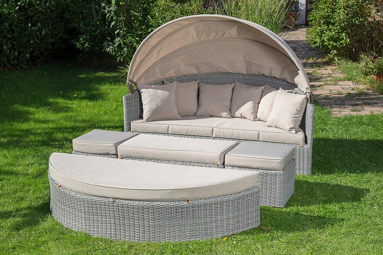 MERXX Loungebett »Multi-Loungebett«, Polyrattan, inkl. Auflagen, grau