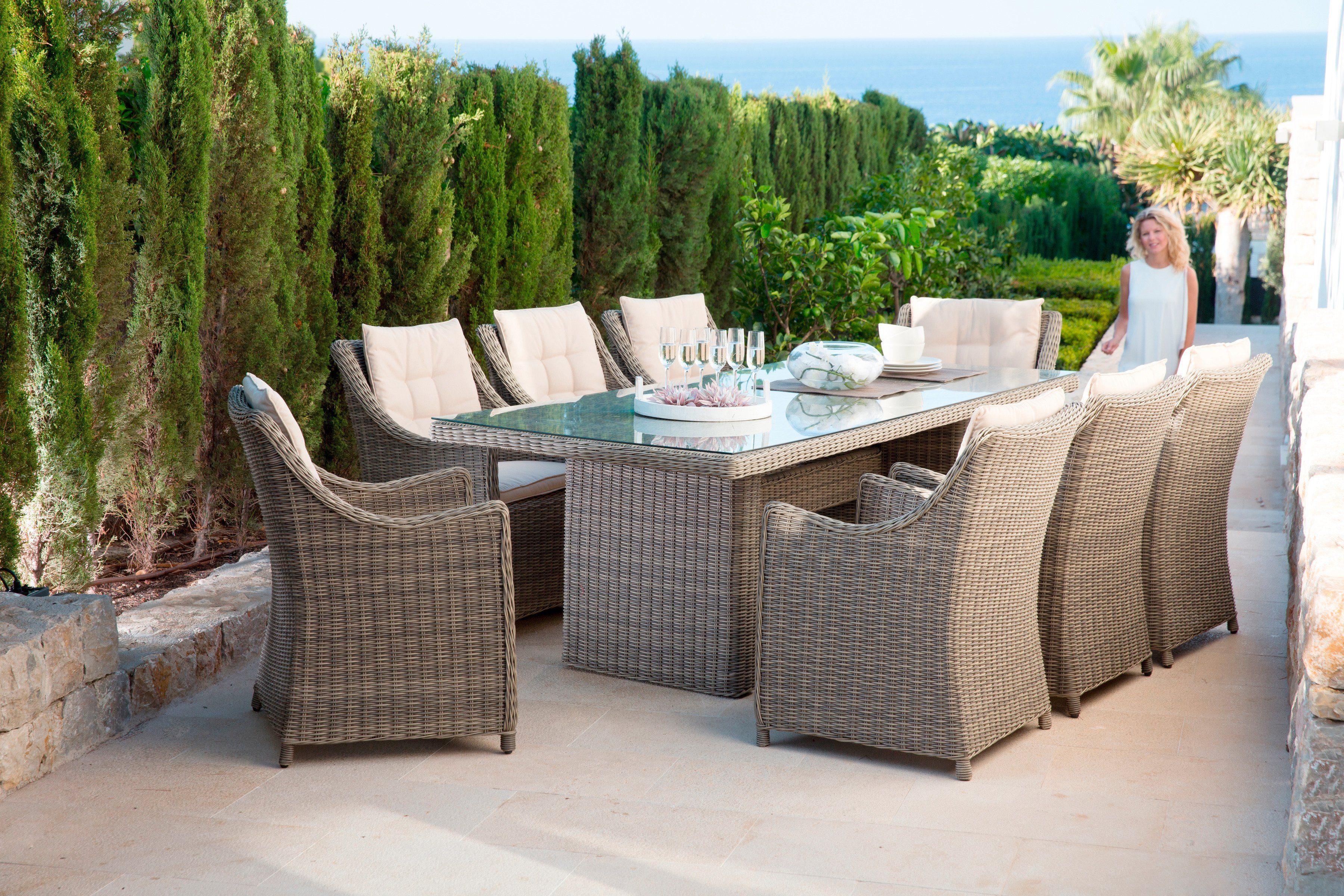 GARTENGUT Gartenmöbelset »Rio«, 25-tgl., 8 Sessel, Tisch 230x100 cm, Polyrattan, natur