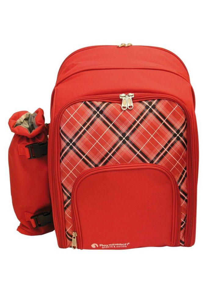 Royalbeach® Rucksack mit Flaschenhalter und Ausstattung für 4 Personen, »Picknick Rucksack« in rot