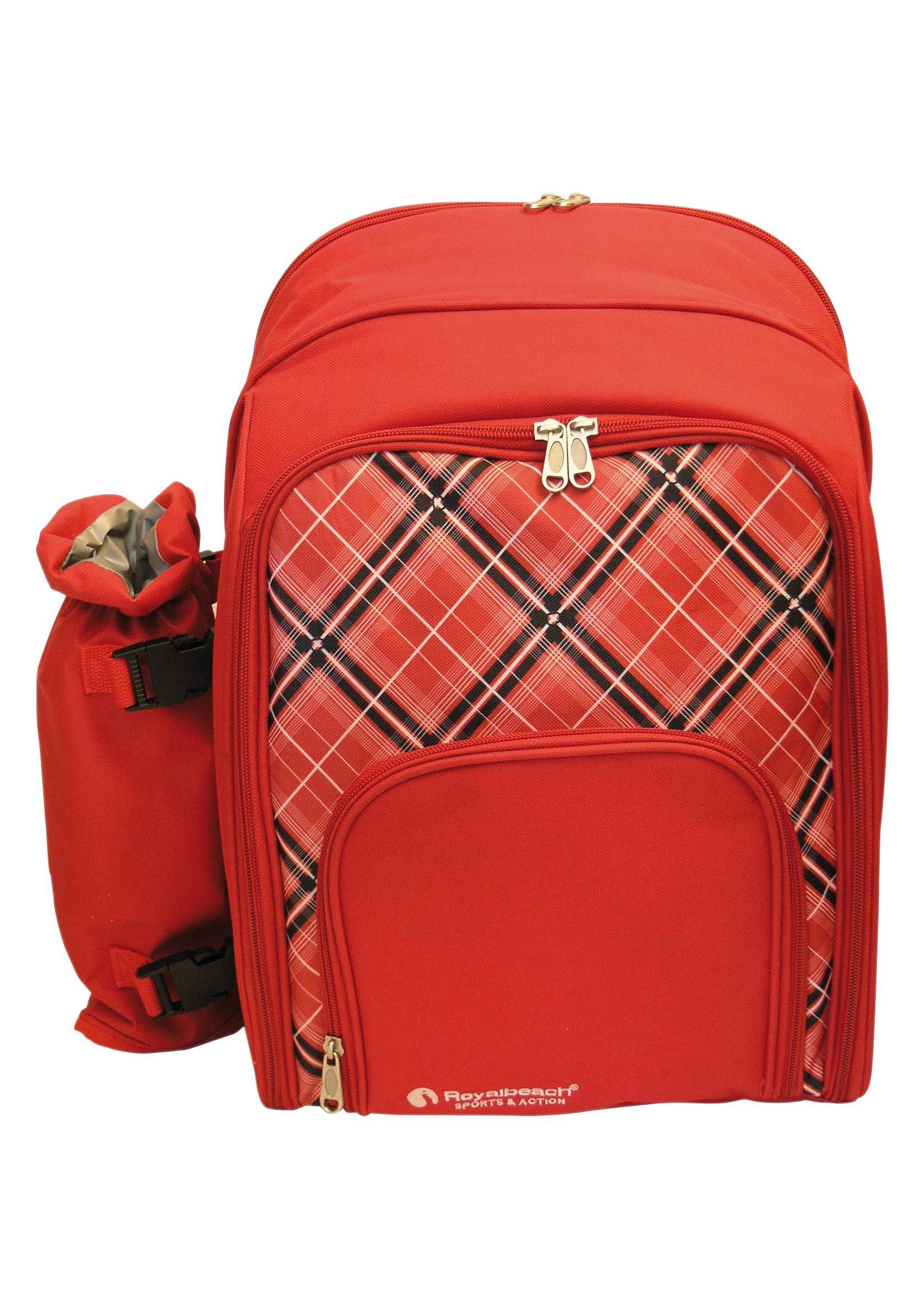 Royalbeach® Rucksack mit Flaschenhalter und Ausstattung für 4 Personen, »Picknick Rucksack«