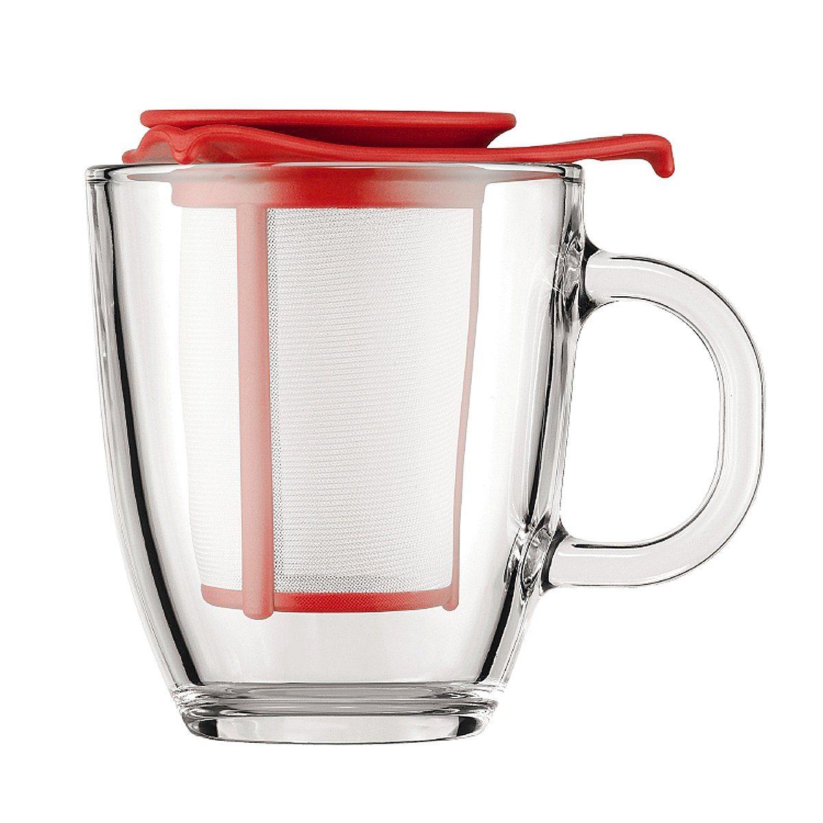 Bodum Bodum YO-YO SET Glastasse mit Kunststofffilter, 0.35 l rot