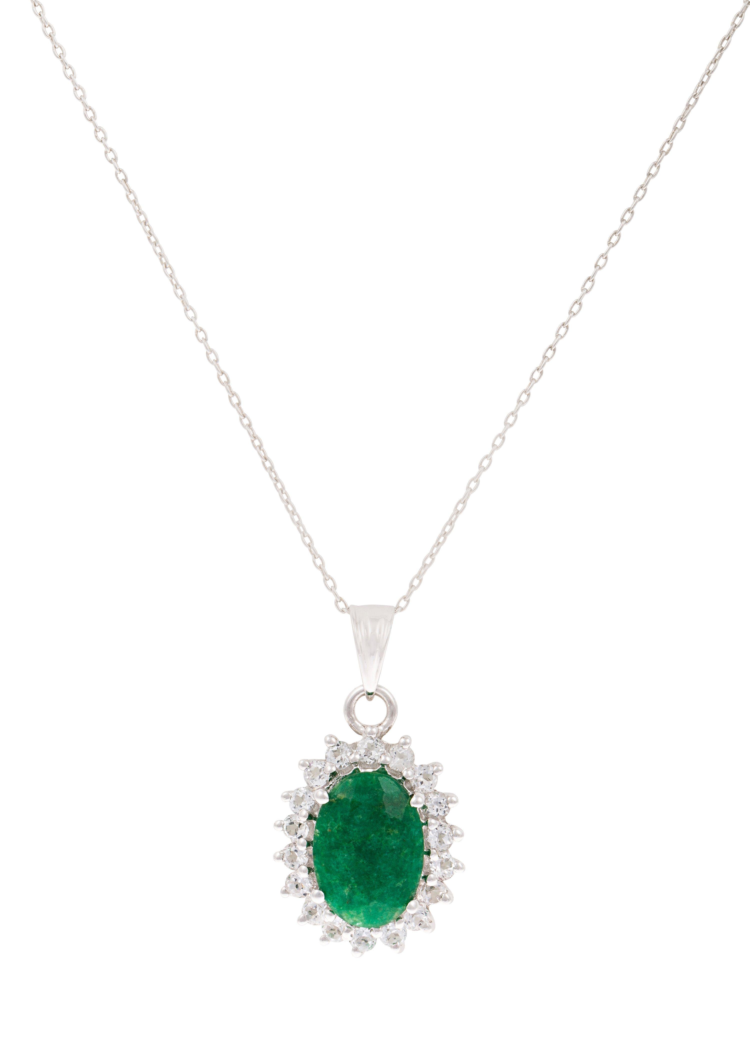 """Vivance Jewels Halsschmuck: Halskette """"Smaragd"""" in Ankerkettengliederung mit Topasen"""