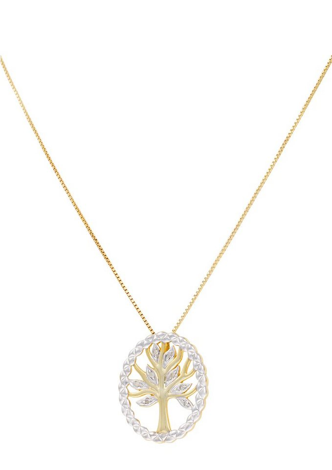 Vivance Jewels Halsschmuck: Halskette »Lebensbaum« in Venezianerkettengliederung mit Diamanten in Silber 925/vergoldet/teilweise rhodiniert