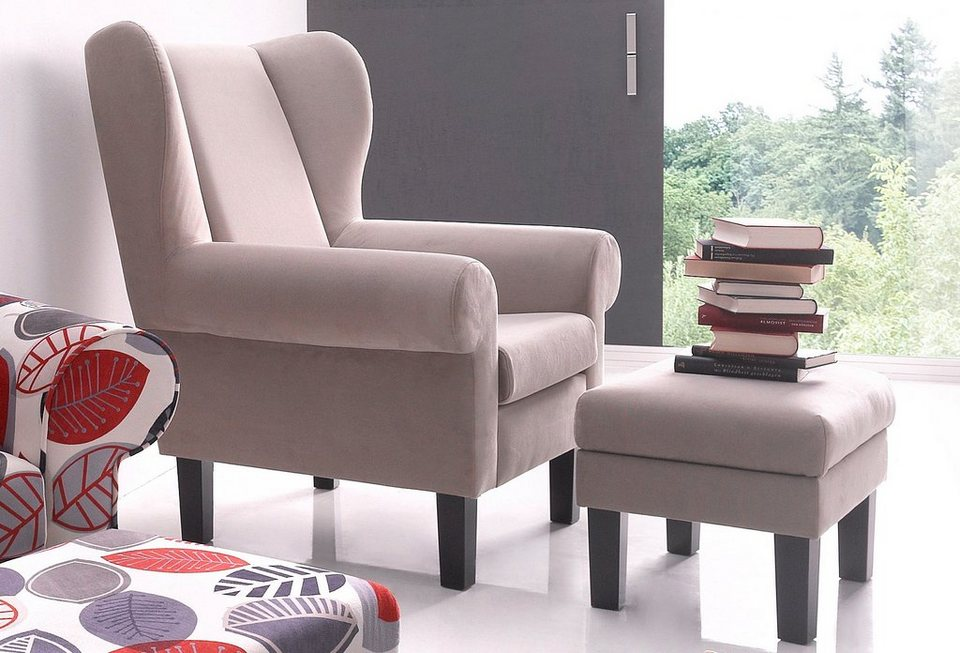Ohrensessel atlantic home collection mit hocker otto for Ohrensessel mit hocker grau