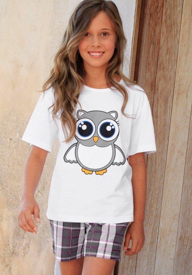 Petite Fleur, Shorty für kleine Nachteulen - niedlicher Pyjama in kurzer Form in weiß kariert