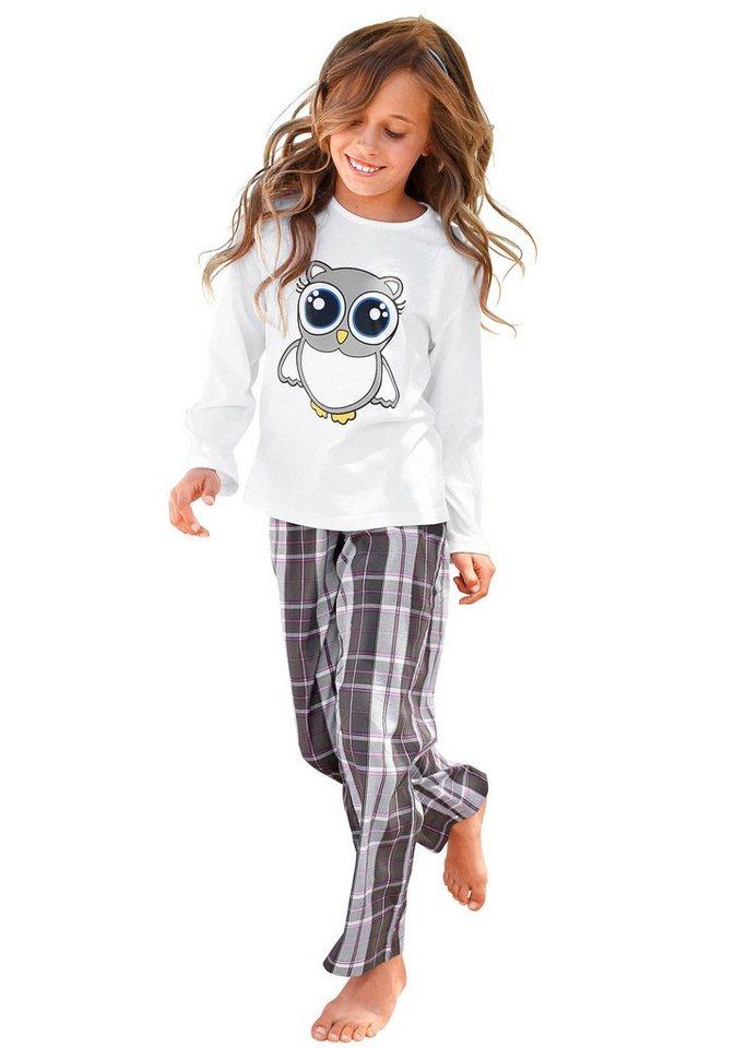 Petite Fleur, Pyjama für kleine Nachteulen - niedlicher Schlafanzug mit gewebter Hose in weiß kariert